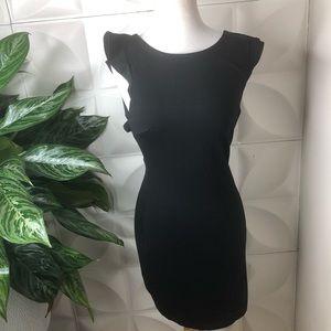 Just Me Little Black Dress Ruffle Back Backless S